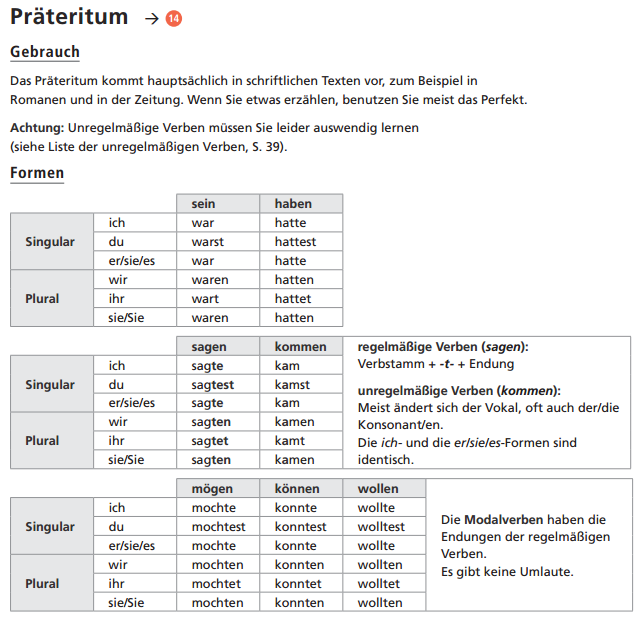 deutsch lernen pr228teritum grammatik pinterest