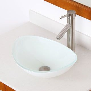 Elite 1420 2659 White Oval Tempered Glass Bathroom Vessel Sink With Faucet Combo Glass Bathroom Sink Design Glass Sink