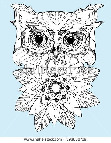 Portrait Of An Owl Owls Head Abstract Bird Print Profile Decorative Stylized Line Art Drawing By Hand Black And White Iso Head Abstract Owls Head Owl