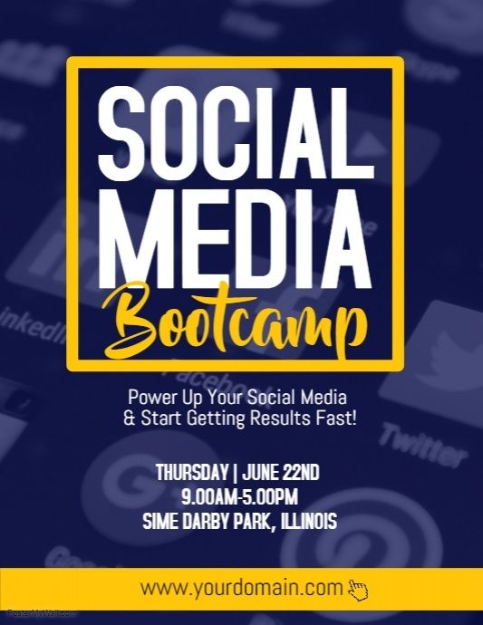 Social Media Bootcamp Business Flyer Template Pinterest
