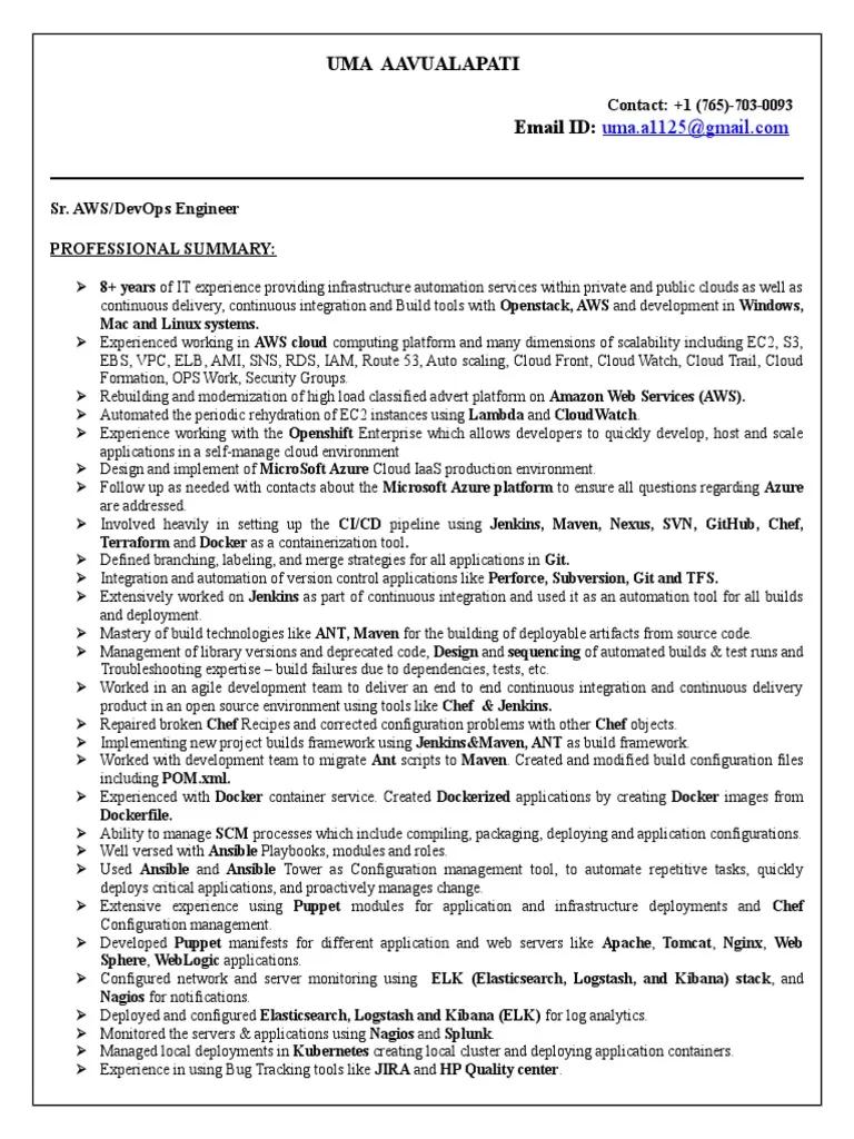 devops engineer resume pdf  best resume examples