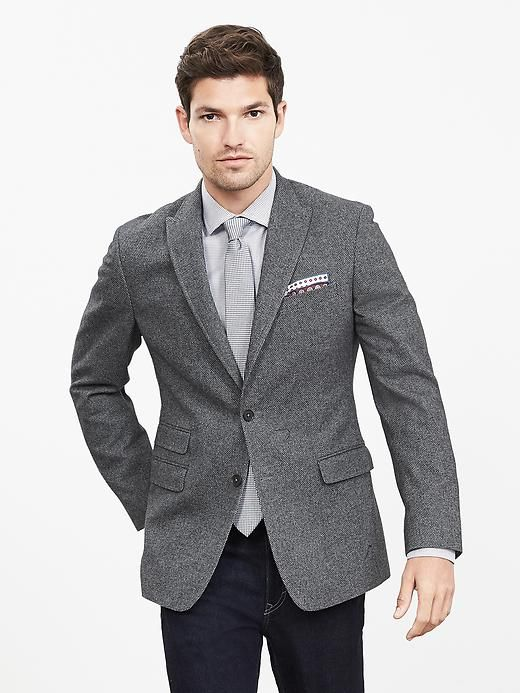 4baf6e8b500b Modern Slim-Fit Gray Jacquard Blazer