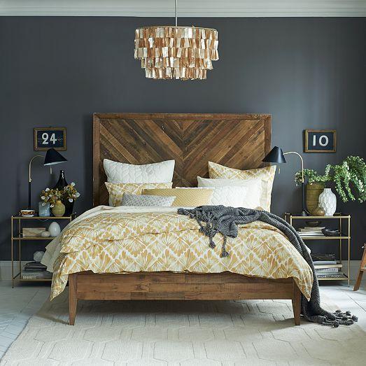 Bedroom goals. Mid-century bedroom furniture, bedding, rug, unique ...
