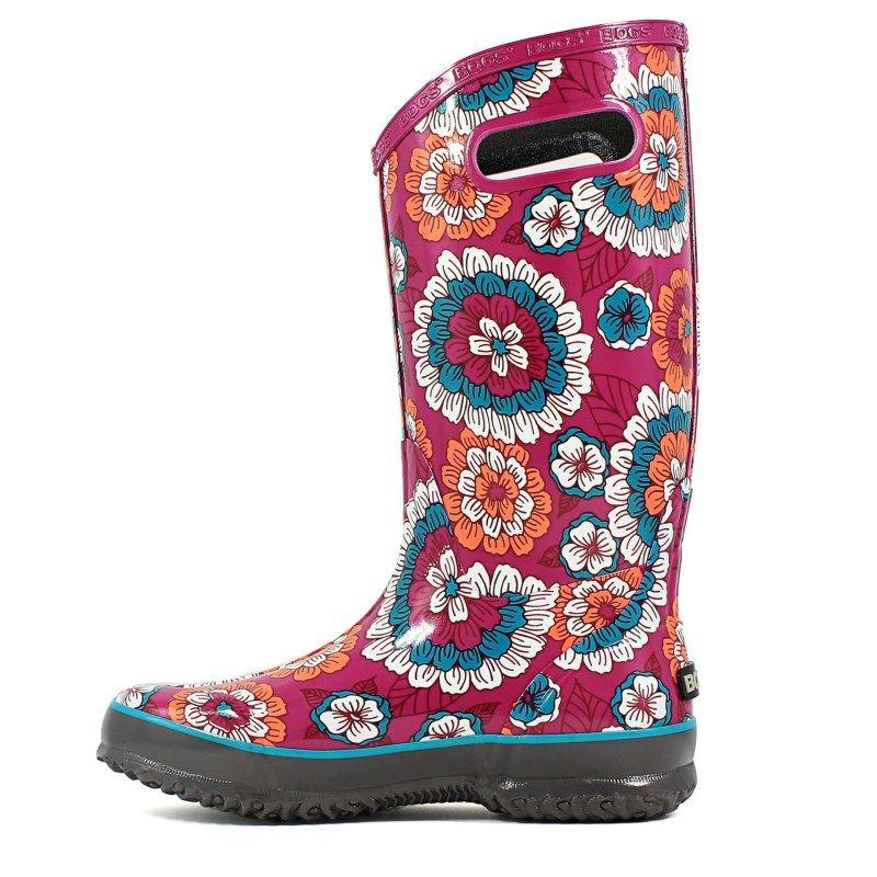 Womens Bogs Pansies Waterproof Rain Boot Gray Multi