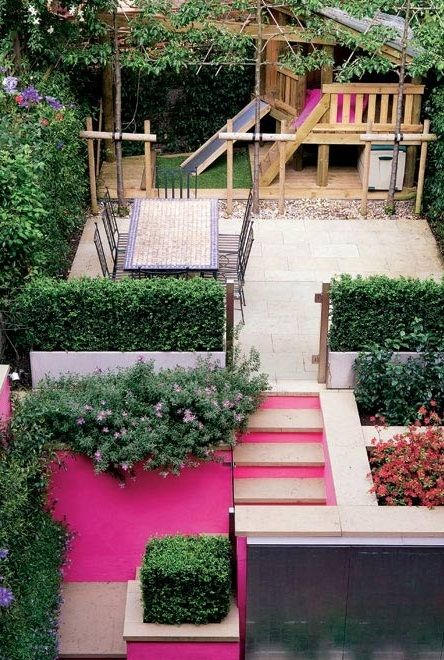 not so much on the pink but i like the compact backyard use of space