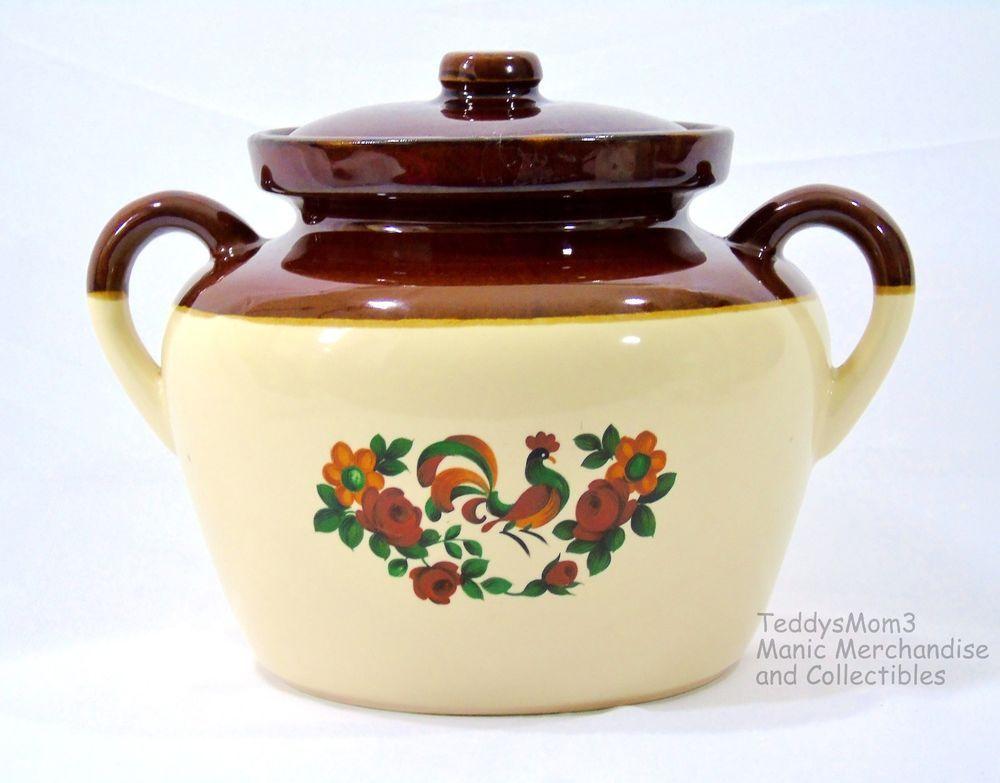 Pretty Rooster Pattern On A Mccoy Bean Pot Vintage Mccoy