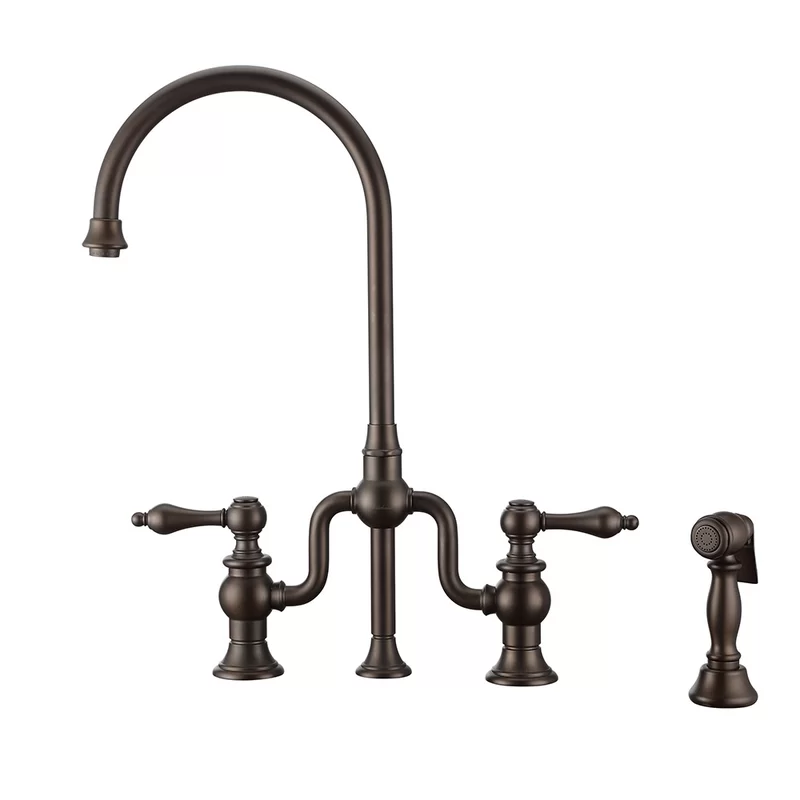 Twisthaus Plus Bridge Faucet With Side Spray Faucet Oil Rubbed