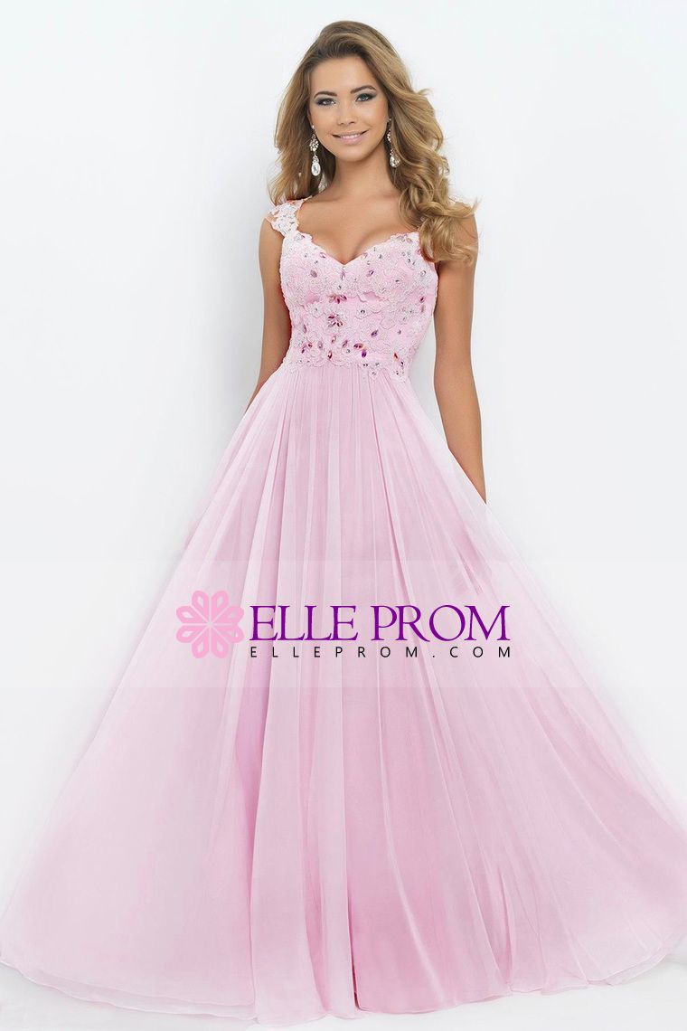 2015 V-Neck A-Line/Princess Prom Dress Tulle&Chiffon With Beads And ...