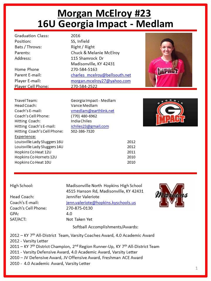 Image Result For Player Profile Sheet Template Abby Softball