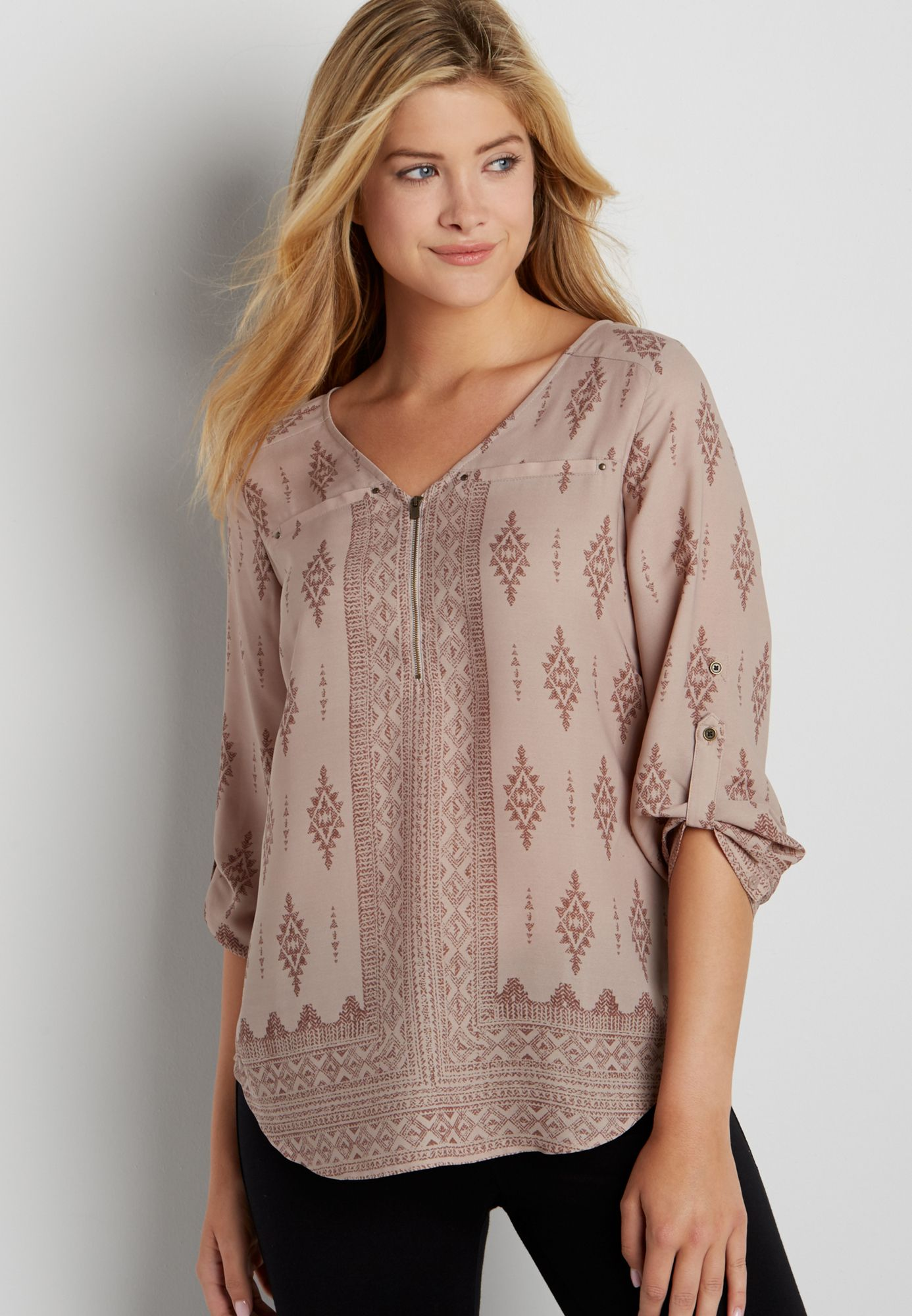15274b834c2 the perfect blouse with zipper neckline in ethnic print (original price,  $32.00) available at #Maurices