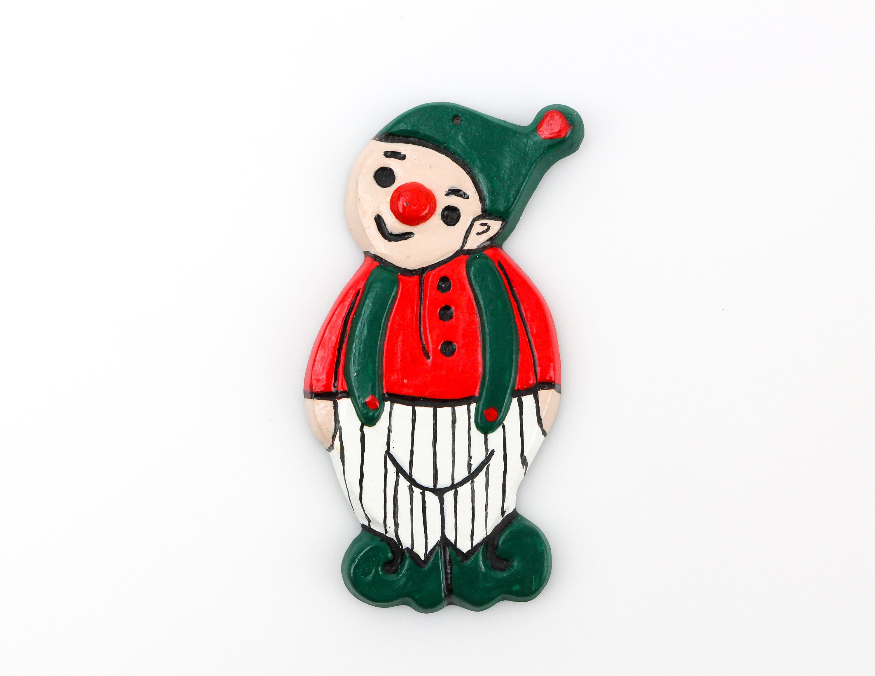 Vintage Handpainted Elf Christmas Ornament by Corkys Molds