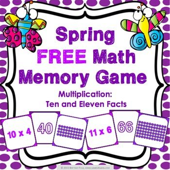 Spring Free: Spring free math game makes practicing ten and eleven multiplication facts fun! Included are 45 memory cards for students to match the multiplication array, multiplication fact, and product. | by Games 4 Gains