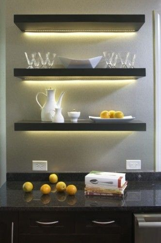 Use led light bars or led strip lights to create lighting under shelves or cabinets
