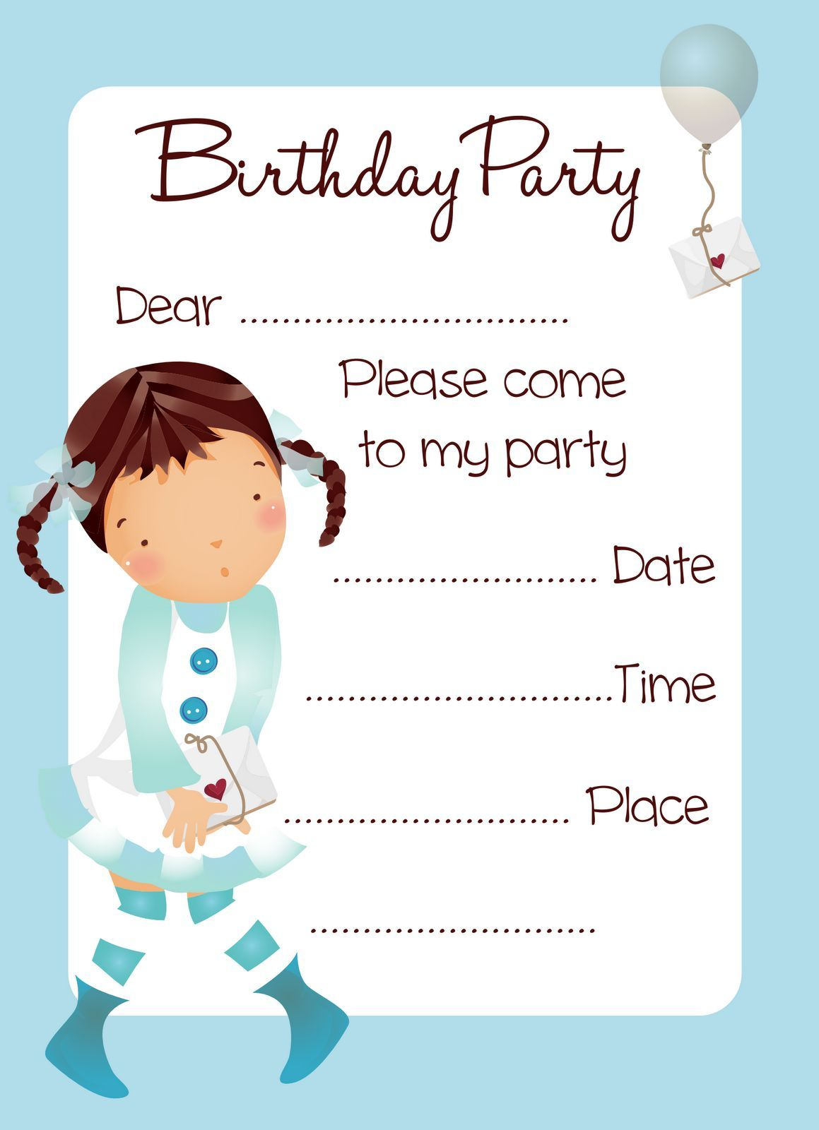 printable birthday invitations free | Invitations card template ...