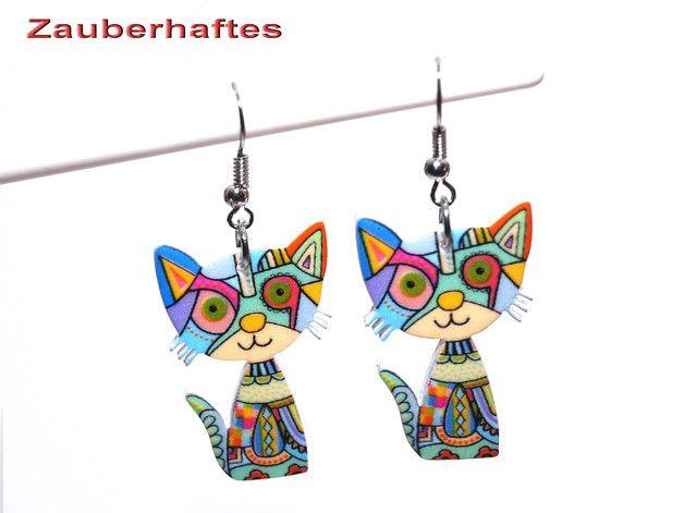 Ohrhänger - Ohrringe Katze bunt türkis Katzenohrringe - ein Designerstück von zauberhaftes-1 bei DaWanda