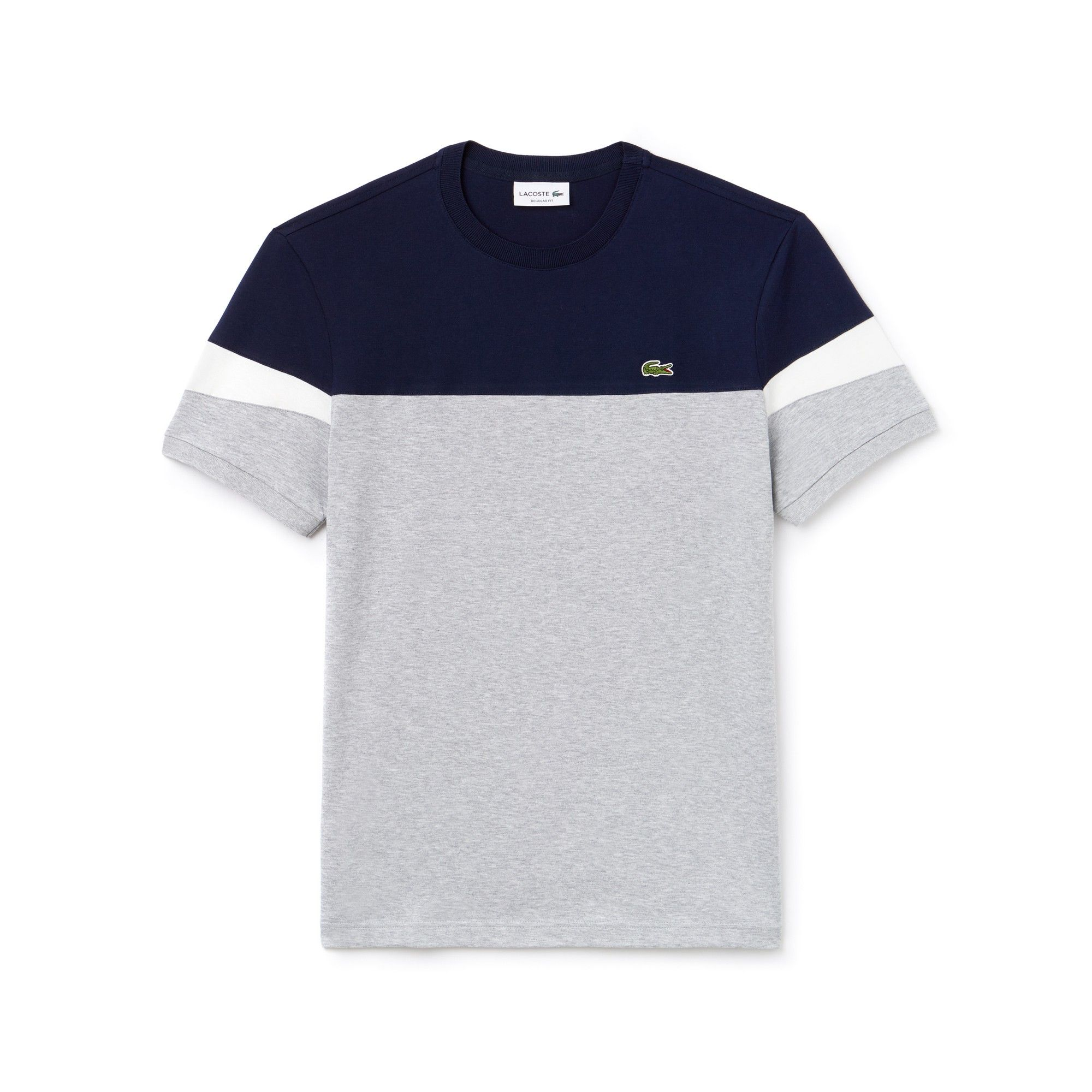 bdf37406 Lacoste Men's Crew Neck Colorblock Soft Jersey T-Shirt - Navy  Blue/Lighthouse Red- 3Xl 8 Green