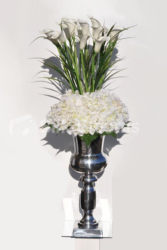 Impressive Tall White Calla Lilies Silver Urn Display #silk #flowers #home # Decor