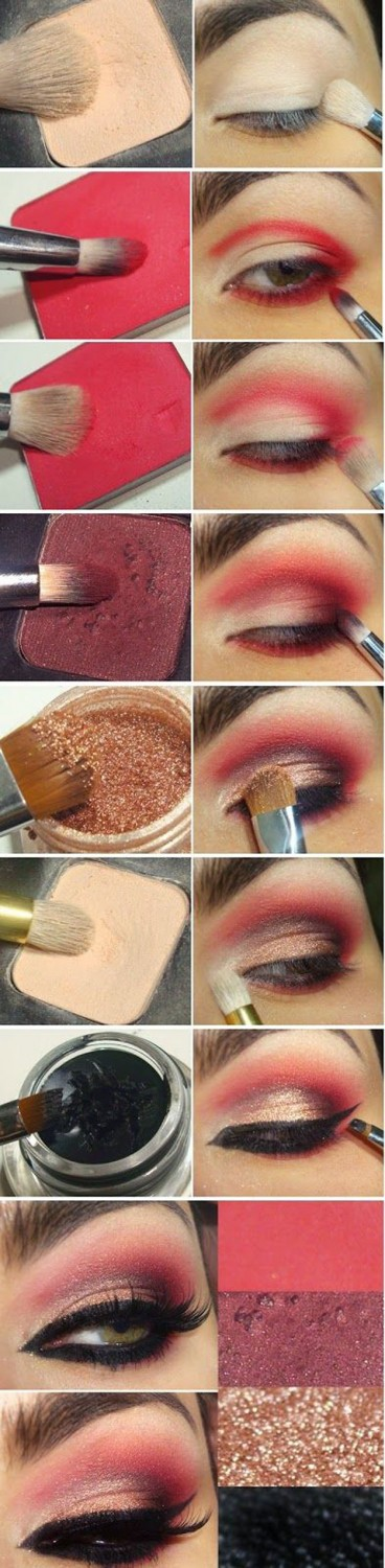 Sexy Red Eyeshadow Tutorial For Beginners