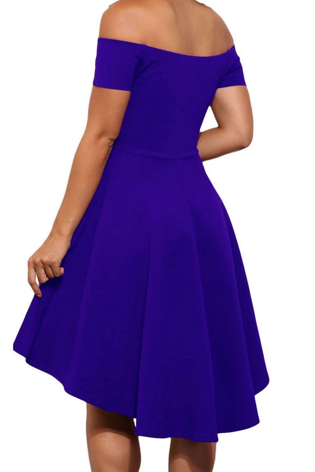 Royal blue dress for wedding guest  LOSRLY Womens Casual Retro Open Shoulder Flare Wedding Guest Dress