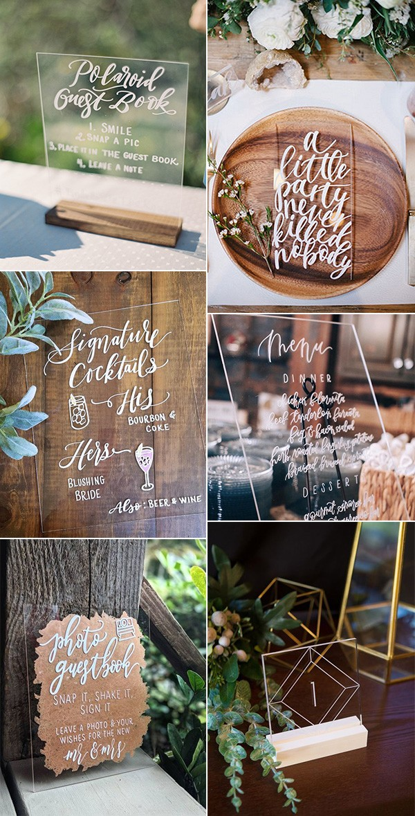 15 Chic Acrylic Wedding Signs to Love for 2019 Trends