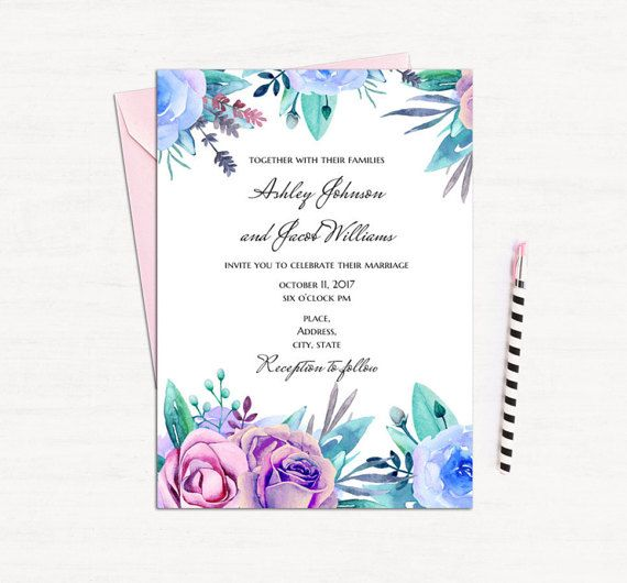 Floral wedding invitation template Purple invites Blue invitation