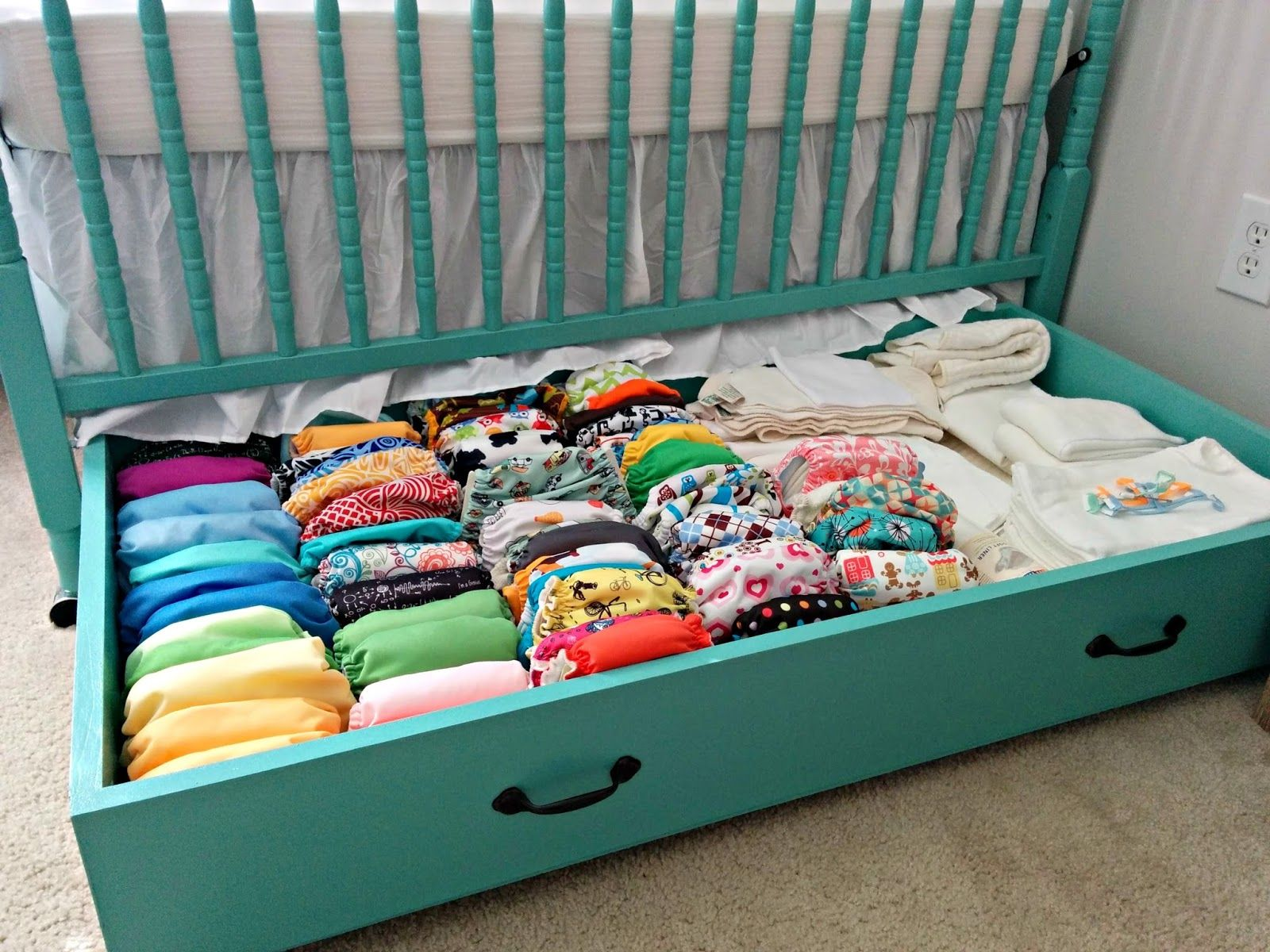 Used crib for sale toronto - Diy Baby Nursery Organizing Idea A Simple Roll Out Container Like Used For Wrapping Paper Under The Crib Gives You A Lot More Space To Store Baby Stuff