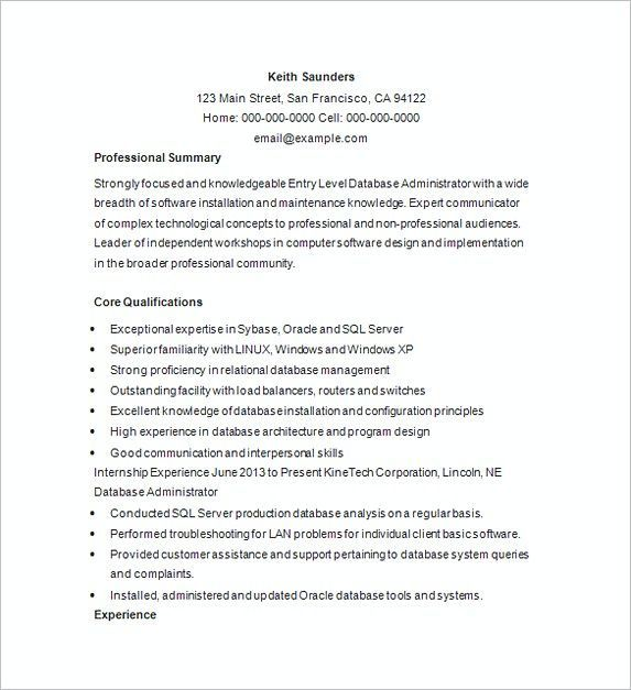 Entry Level Mechanical Engineering Resume Endearing Database Management Resume Example  Database Management Resume .