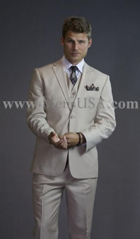 SKU#VSF711 2 Button 3 Piece Beige Tone on Tone Slim Fit affordable ...