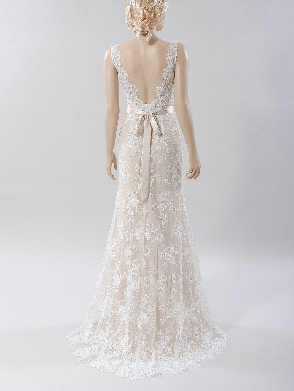 Simple sheath vback high quality french lace wedding dress lace