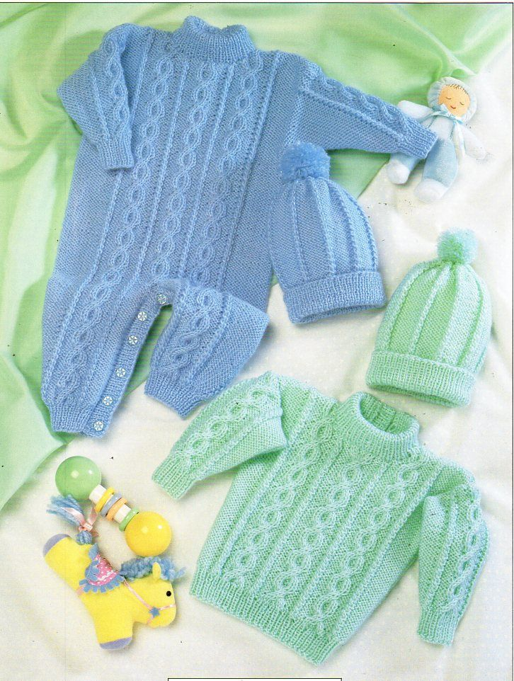 Baby Cable Playsuit Sweater Hat Knitting Pattern Pdf Baby All In One