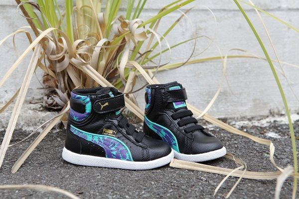 c790c9c5a91 PUMA First Round Wildy V Kids high tops for toddlers with a teal and ...