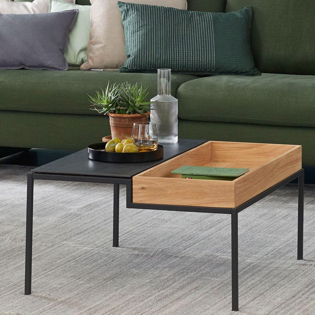 Couchtisch Step Aus Der Schoner Wohnen Kollektion Kombiniert Eine Keramikplatte In Der Optik Beton Mit Einem Tablett Aus Eich Wohnzimmertische Couchtisch Tisch