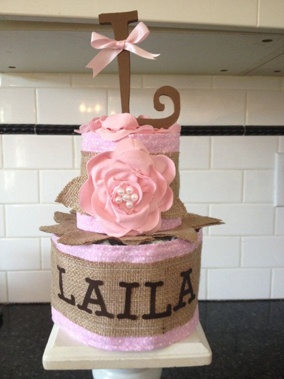 Custom Diaper Cakes - Personalized Diaper Cake - Baby Shower Centerpieces - Custom personalized Diaper cakes - Burlap and Roses on Etsy, $22.00