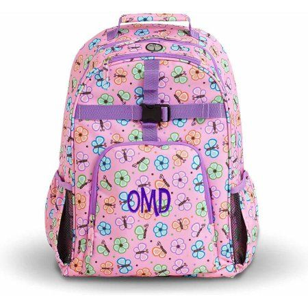 Personalized Playful Print Backpack, Floral Butterfly, Monogram, Purple