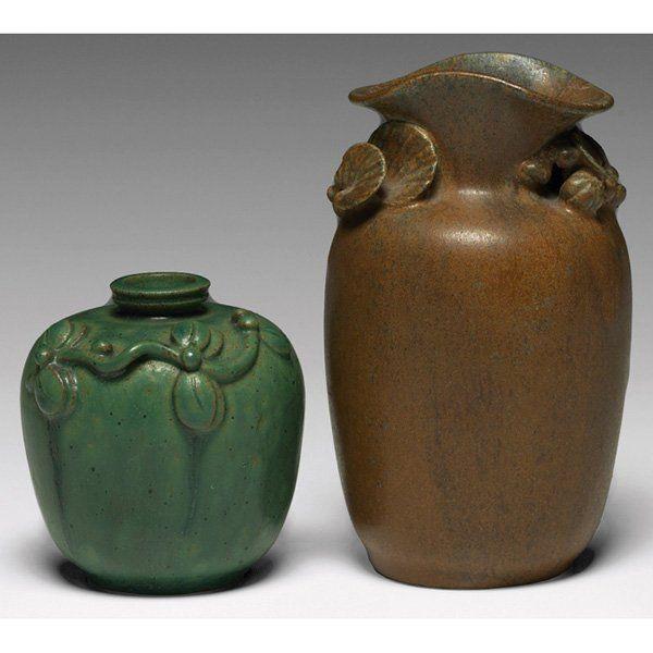 803 Arne Bang Vase Raised Leaf Design On Art Pottery First Half
