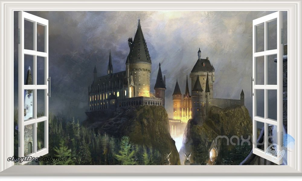 60x100cm harry potter castle 3d window wall decals removable