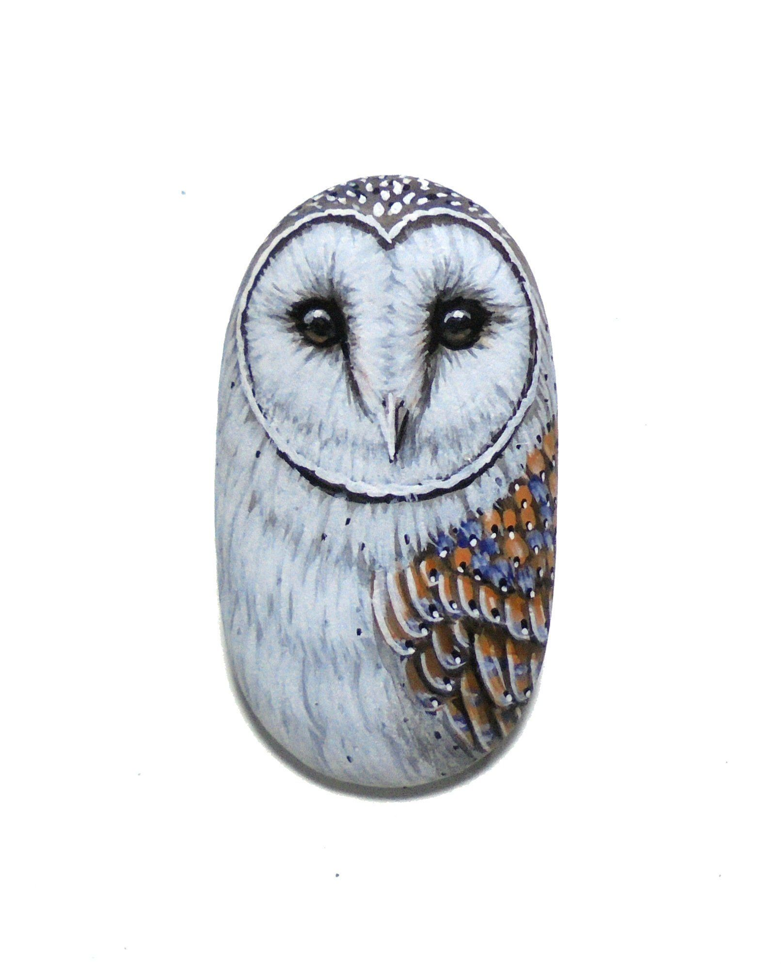 Hand-Painted Barn Owl Sea Pebble Magnet! Miniature Bird Painting on ...