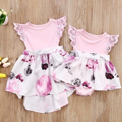 36345025a6582 Family Matching Outfits Cute Toddler Kids Girl Newborn Baby Sisters Lace  Floral Ruffles Sun-suit Outfit Sundress Clothes