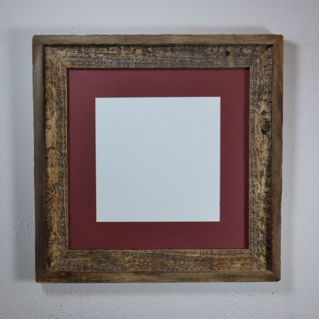12x12 Picture Frame From Upcycled Wood With Mat For 8x8 Or 10x10 A Beautiful Mottled Patina Highlights This Reclaim Frame Picture Frames Reclaimed Wood Frames