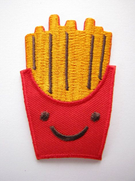 1 Dollar Shipping - Kawaii / Cute French Fries Iron On Patch / Applique