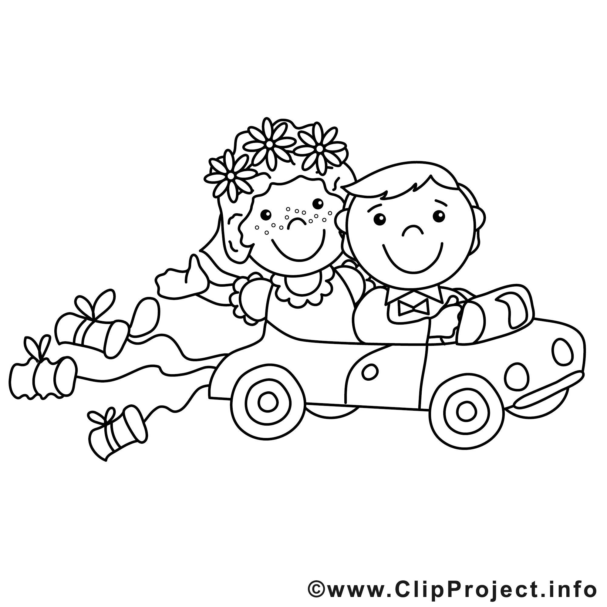 Malvorlage Auto Hochzeit