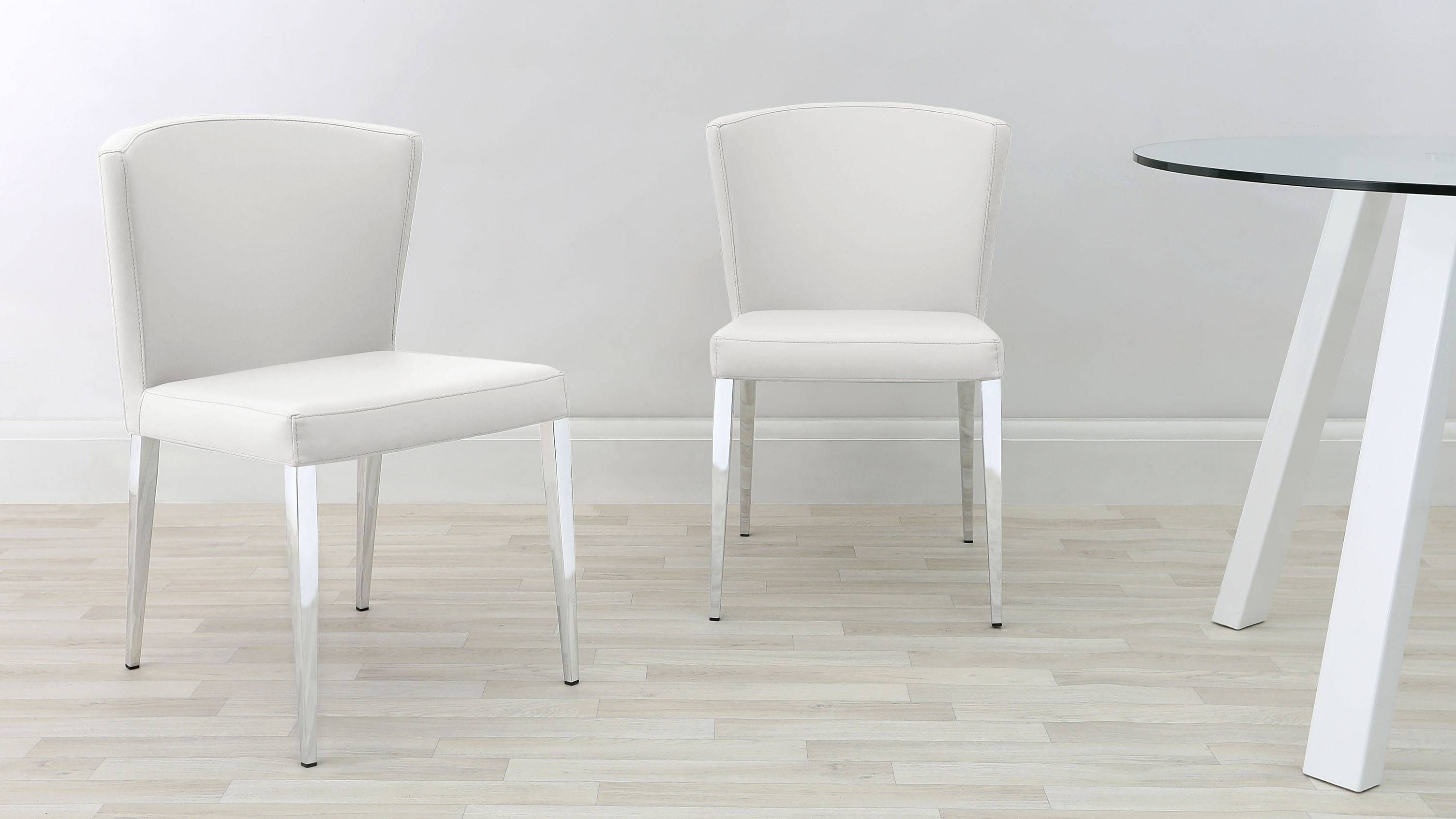 Curved Dining Chair Chrome Tapered Legs Faux Leather
