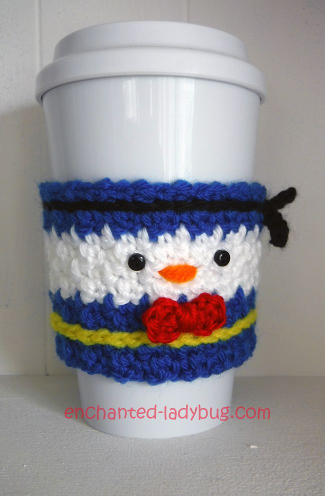 Free Crochet Donald Duck Coffee Cup Cozy Pattern. Free PDF crochet ...