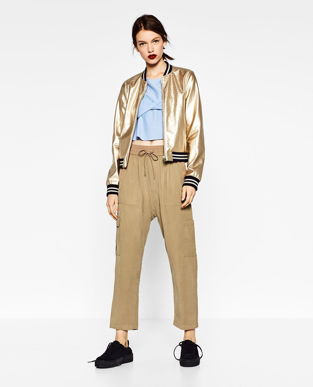 Image 1 of GOLD-TONED BOMBER JACKET from Zara   Donne   Pinterest ... 05b95d73bd38