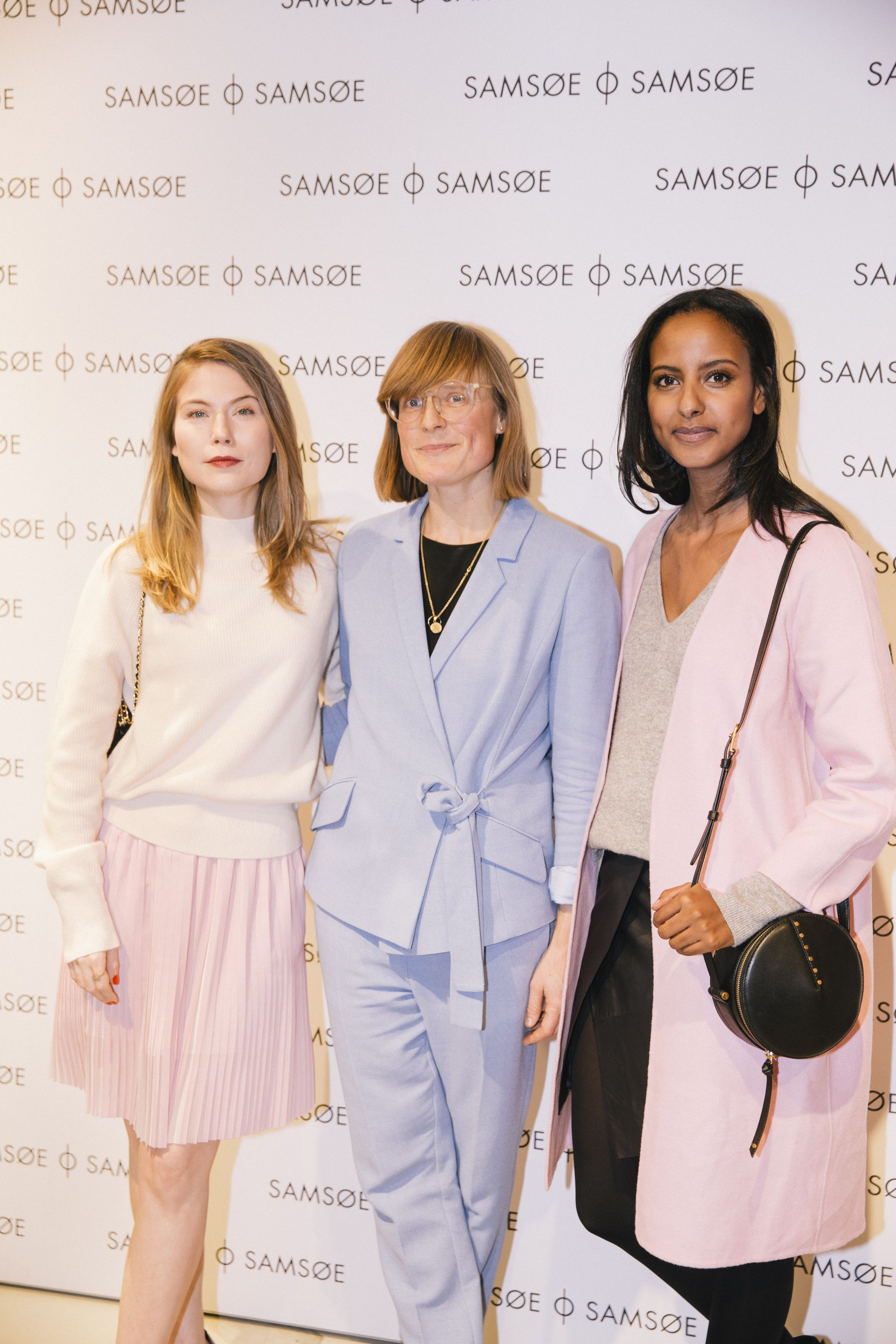 Actress Nora von Waldstätten, Creative Director at Samsøe & Samsøe, Mia Kappelgaard & model Sara Nuru at the store opening in Berlin, January 2017.