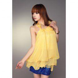 Cute Halter Neck Sequin Embellished High-Waisted Sleeveless Chiffon Mini Dress For Women