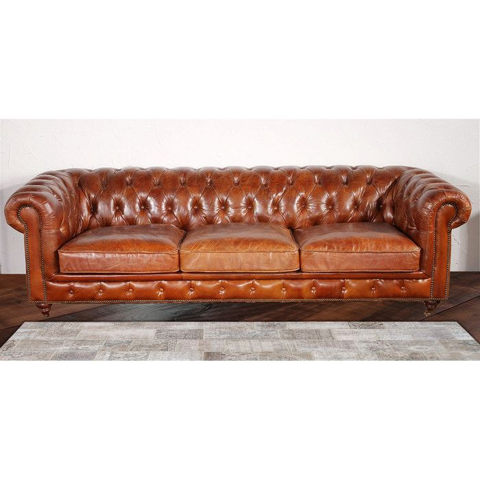 Genuine Leather Chesterfield 96 Rolled Arm Sofa Genuine Leather Sofa Tufted Leather Sofa Leather Chesterfield Sofa