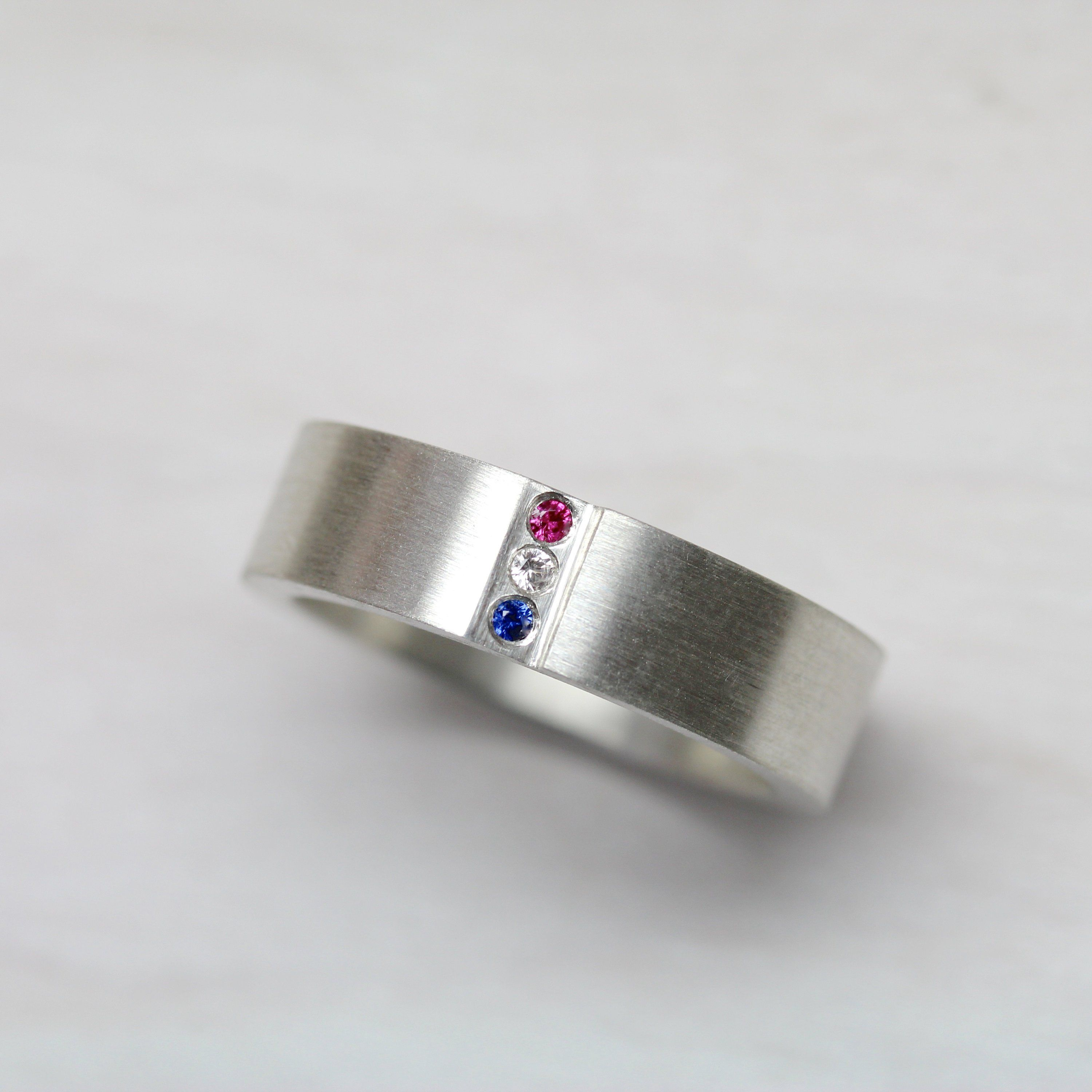 Men's Silver Sapphire Ruby Wedding Band Red White and Blue
