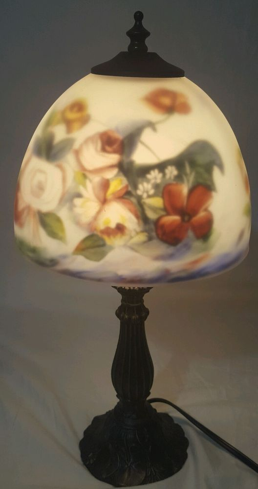 Vintage Art Deco Heyco Metal Table Lamp Reverse Painted Frosted