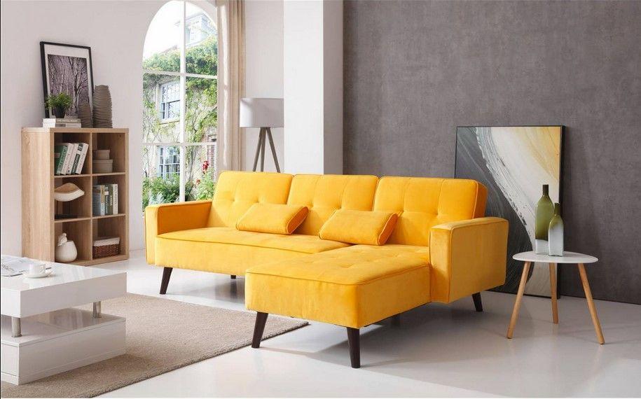 Bobochic Lisea Canape D Angle Reversible Convertible Jaune Pas Cher Canape Rue Du Commerce Canape Angle Canape Deco Maison